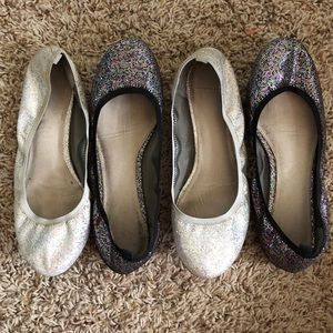 two pairs of sparkly ballet flats from GAP